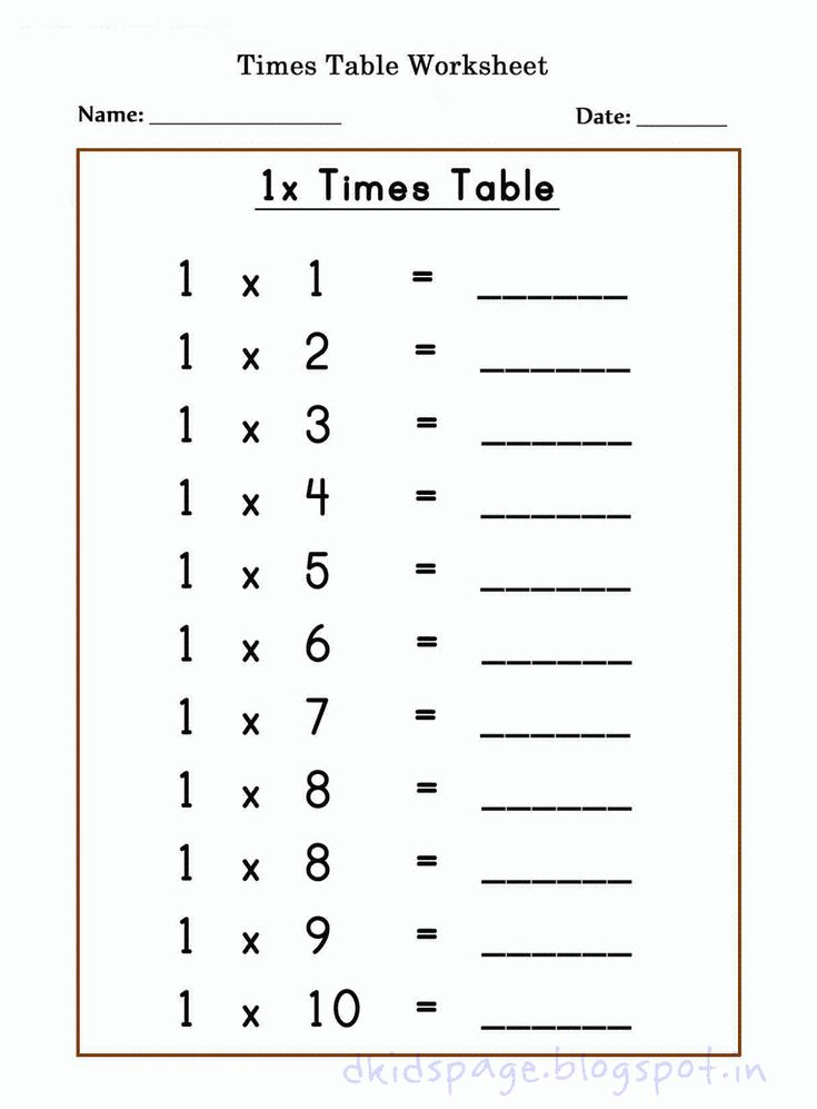 kids page printable 1 x times table worksheets for free things to learn times tables. Black Bedroom Furniture Sets. Home Design Ideas