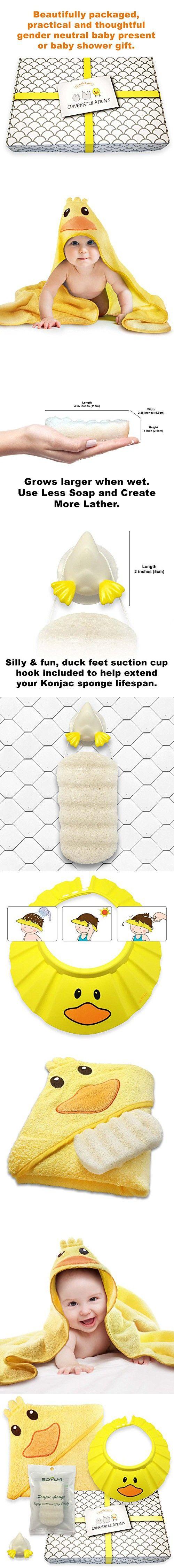 Gentle Care - Baby Shower Bath Gift Set - Soft 100% Cotton Hooded Bath Towel + Natural, Hypo-allergenic Konjac Sponge + Adjustable Foam Shampoo Cap + Beautifully Packaged