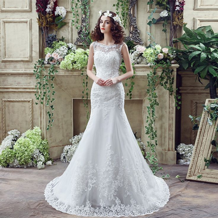 Sheer Neck Sexy Mermaid Lace Wedding Dresses With Straps Vestido De Noiva Cheap Gowns V