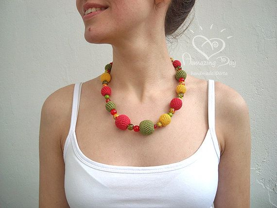 Crochet bead NECKLACE. Red Green Yellow bubble by AmazingDay
