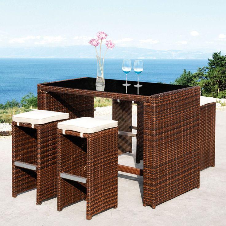 Majestic Garden Conjunto de bar Cheers de mesa alta y taburetes El set de bar Cheers es un conjunto formado por una mesa alta rectangular con sobre de...
