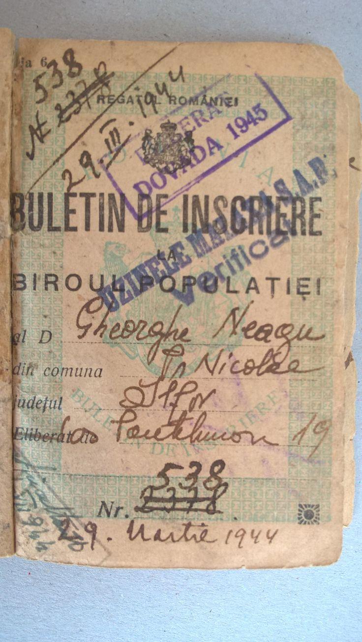 My Ex. Grandfather NEAGU GHEORGHE , Born in 17 April 1882 in Broscauti - Storojinet . Grandson NEAGU MIRCEA 54 Years , Born in 29 April 1963 in Bucharest , with My Addressee : NEAGU MIRCEA - Bulevardul Mihai Bravu Nr.98-106 Bloc D.16 Sc.1 Etaj 6 Ap.23 Sector 2 Of.Postal 39 Cod.-021332 Bucharest .