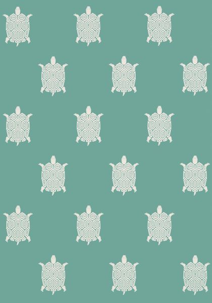 Stamped upon a saturated ground of totally current colors, Turtle Bay's interpretive turtle #wallpaper design with hexagonal shell is both soothing and stimulating with its perfectly balanced scale. Featured here in #turquoise from the Biscayne collection. #Thibaut