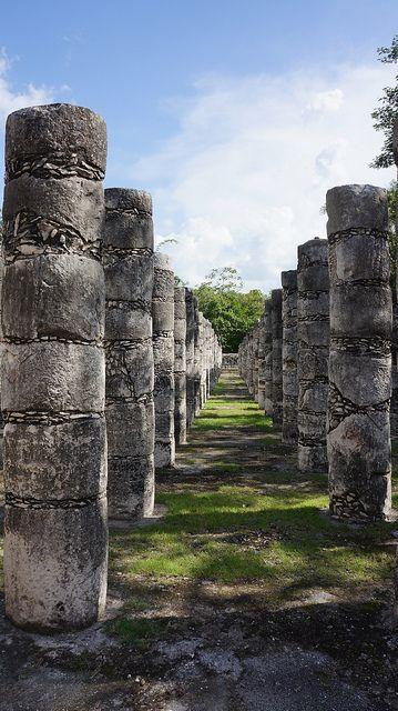 columns at Chichen Itza,Mexico