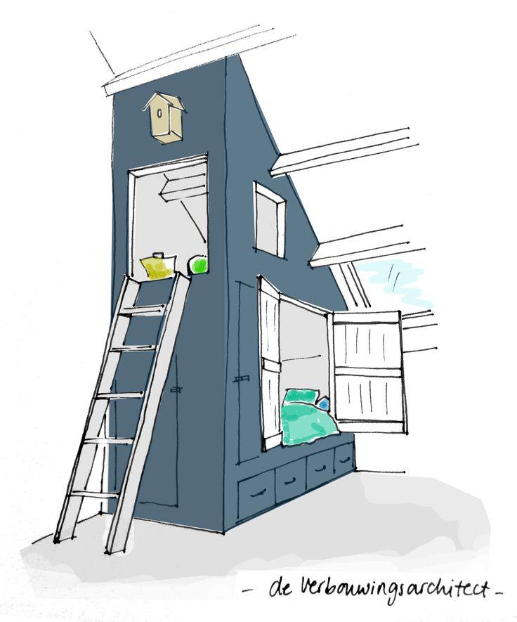 Een kinderkamer op zolder? Lees hoe je creatief omgaat met de ruimte => http://deverbouwingsarchitect.wordpress.com/2014/09/23/4x-inventief-slapen-op-zolder/