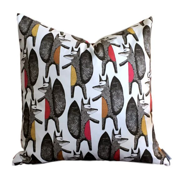Give your favourite seat a facelift with this modern Scandi inspired pillow cover. Amusing large scale Fox design for a contemporary look. 100% cotton REVERSE IS SEWN IN CO-ORDINATING LINEN Vertical repeat: 12.63, Horizontal: 13.50 SEWN IN CANADA PILLOW COVER ONLY with zippered closure All interior seams are reinforced dry cleaning recommended Order filler separately - either down/feather or synthetic down or mildew resistant polyfil We suggest 22 feather/down or synthetic do...