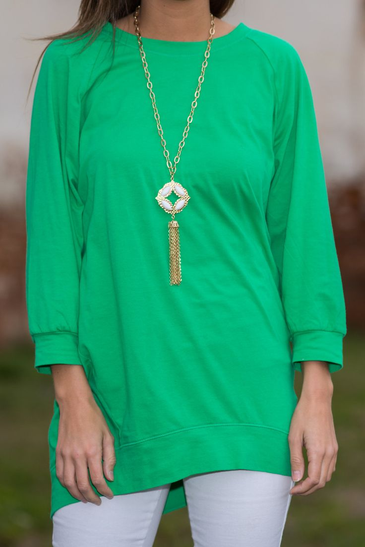 Slouchy Dolman Tunic, Kelly Green - The Mint Julep Boutique