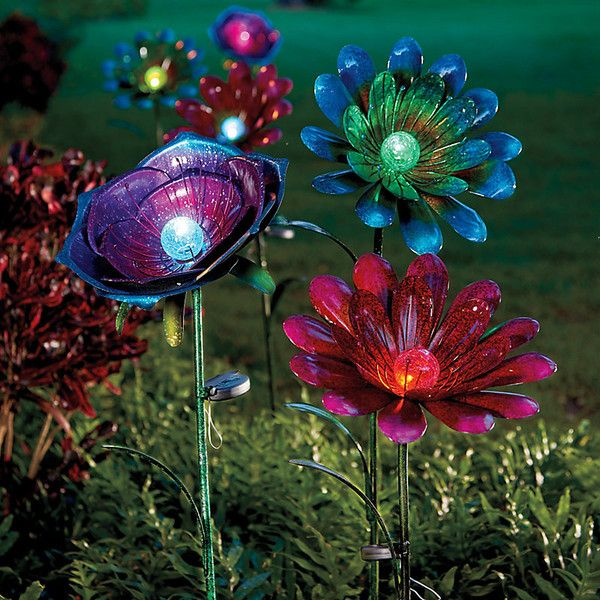 Floral Solar Garden Stakes ($60) ❤ liked on Polyvore featuring home, outdoors, outdoor decor, backgrounds, solar garden decor, garden decor, flower stems, solar garden stake and garden patio decor