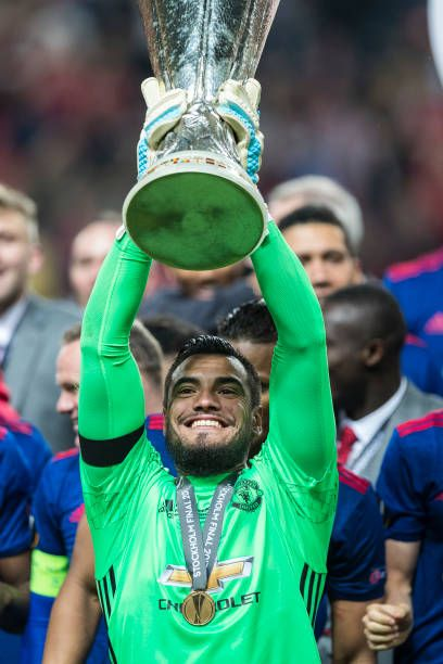 Sergio Romero of Manchester United lifts the Europa League trophy after the UEFA Europa League final between Ajax and Manchester United at Friends...