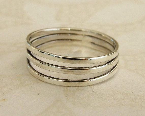Sterling Silver Ring Three Band Ring Three by MYJewelryEtsyShop