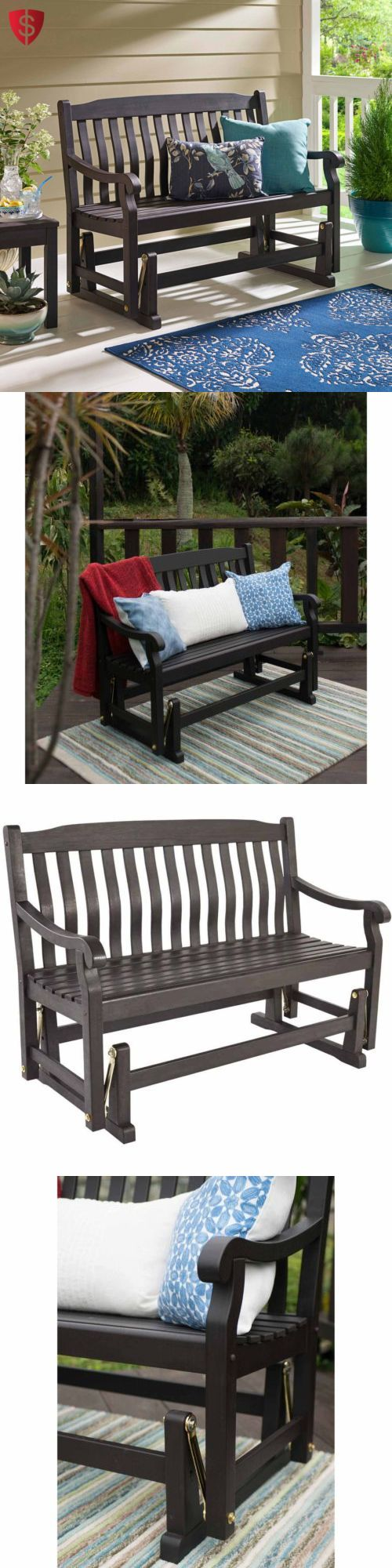 Benches 79678: Wood Bench Outdoor Garden Porch Seat Yard Furniture Glider Chair Patio Brown -> BUY IT NOW ONLY: $969.99 on eBay!