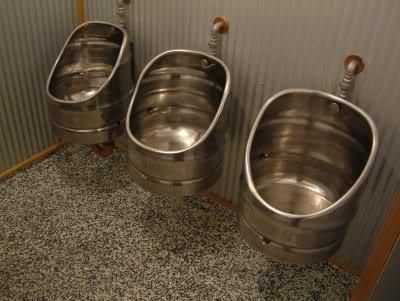 When beer kegs get old, they are retired. Recycle… The urinals at Monteith's Brewery, New Zealand.