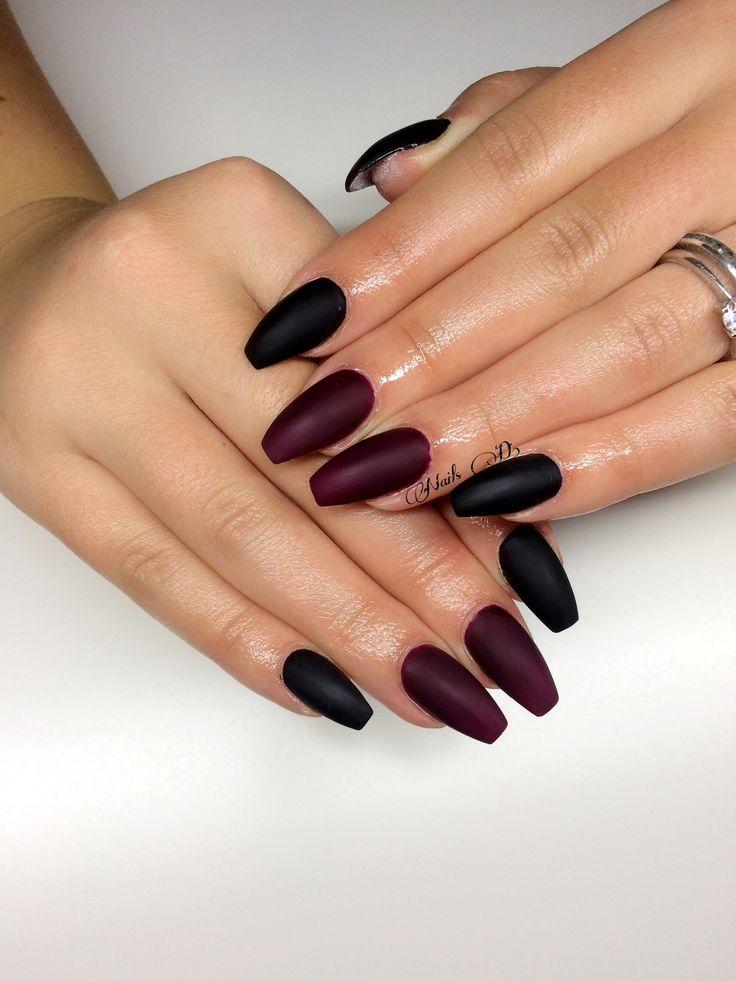 Nails design#matte Nails#beautiful colours#marsalla and blackV