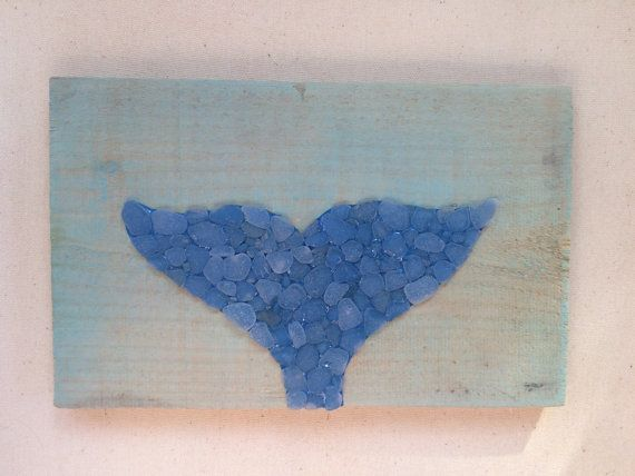 Sea glass art Whale Tail wall decor whale nautical sea by SignsOf