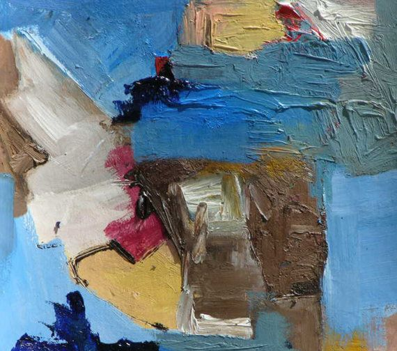 Piccolo dipinto ad olio, pittura minimalista, pittura astratta, pittura geometrica, paesaggio astratto acrilico, pittura su carta originale by ruggerotommasiniart #italiasmartteam #etsy