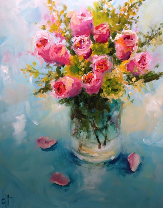 Roses In A Glass Vase Original Acrylic Painting 11x14