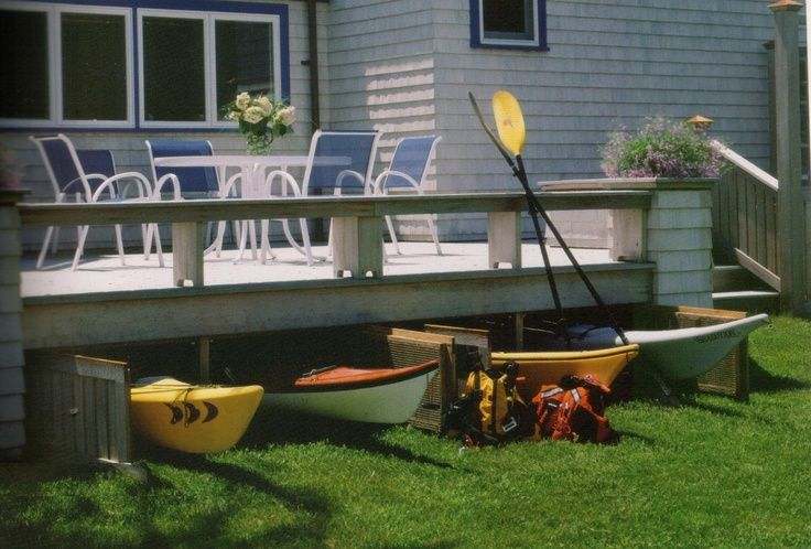 Kayak storage under decking home pinterest kayaks for Garage under deck
