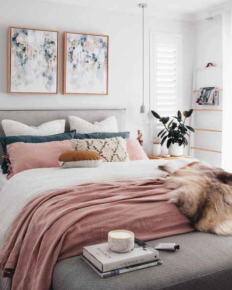 A chic modern bedroom with a white, gray, and blush pink color scheme. The  faux fur throw adds a touch of glamour to this contemporary girly room -  Unique ...