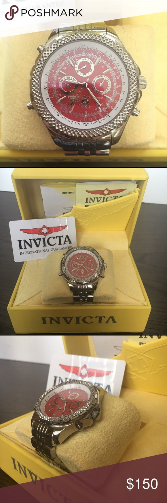 Invicta men's watch Brand new men's invicta watch. No scratches. Box included . Red face with silver . New never used but battery went out so it needs a new battery. Authentic & heavy Invicta Accessories Watches