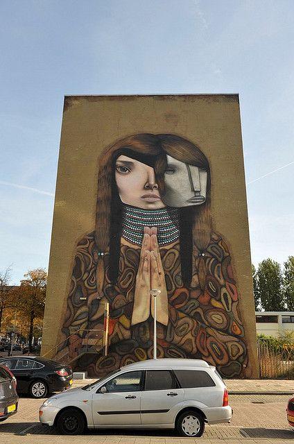 Rotterdam Street Art street art  .  Brazil  woman with 2 faces .  000