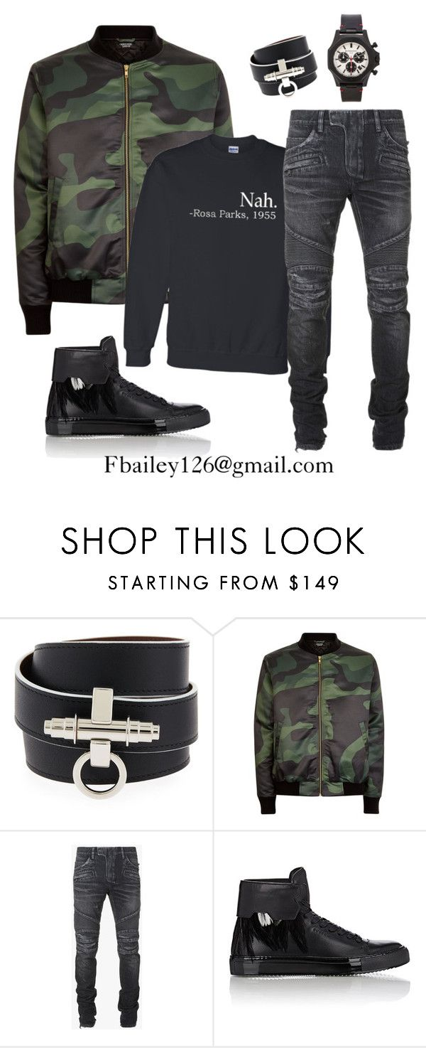 """Untitled #522"" by fbailey126 ❤ liked on Polyvore featuring Givenchy, Balmain, BUSCEMI, mens, men, men's wear, mens wear, male, mens clothing and mens fashion"