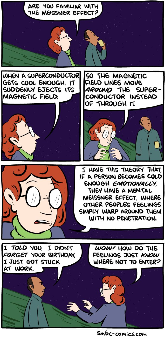 SMBC, taking us closer each day to being able to teach an entire TOK class using jokes. AOK NS and WOK emotion (KQ: Why is it so laughable to apply the NS theory to emotion?) The joke about flux pinning practically writes itself!