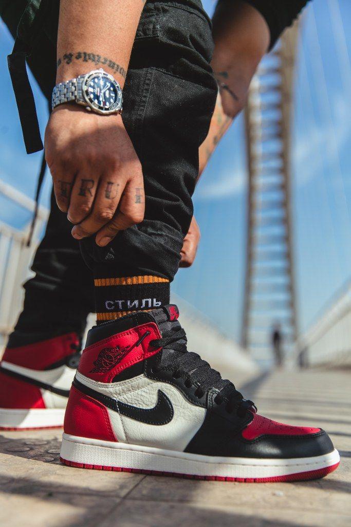 b2551e35f8d5 Air Jordan 1 Bred Toe  AllenClaudius  bowtiesandbones  sneakerhead  indian   hypebeast  highsnobiety  sneakerculture  streetwear  str…