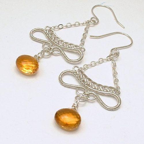 Honey Citrine Gemstone Wire Wrapped Dangle Argentium Sterling Earrings November Birthstone, $51.00 Healing Crystal Jewelry https://www.facebook.com/pages/Healing-Crystal-Jewelry/300033266677889?sk=app_251458316228