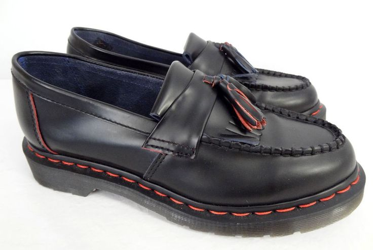 Dr Martens Rare Red Stitching Adrian Tassel Loafer Shoes Womens 6.5 7 Mint! | eBay
