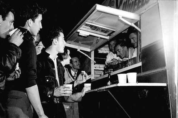 Scene from Harry's Cafe de Wheels, Harry's Pie Stall. March 19, 1949. Photo: Mulligan Cowper Wharf Road, Wooloomooloo, Sydney, NSW, Australia