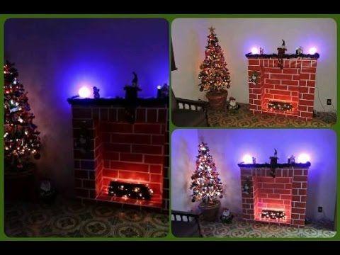 Decoração de Natal Lareira de caixa de papelão parte 1, 2 e fim.