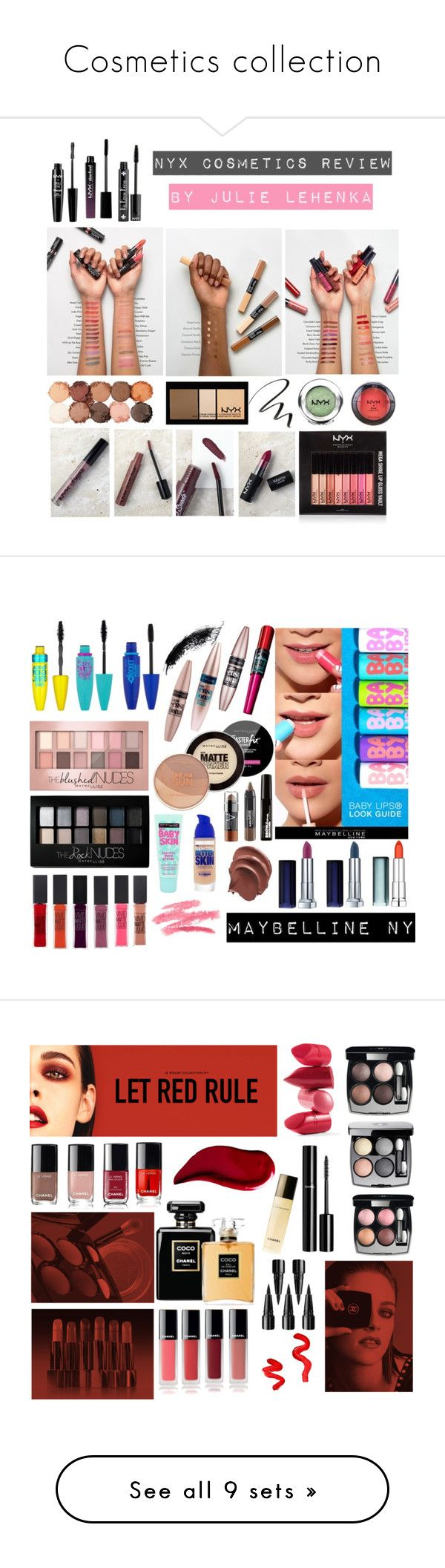 """""""Cosmetics collection"""" by julielehenka ❤ liked on Polyvore featuring beauty, NYX, Maybelline, Chanel, Rossetto, Kat Von D, Topshop, MAC Cosmetics, Jeffree Star and Burt's Bees"""