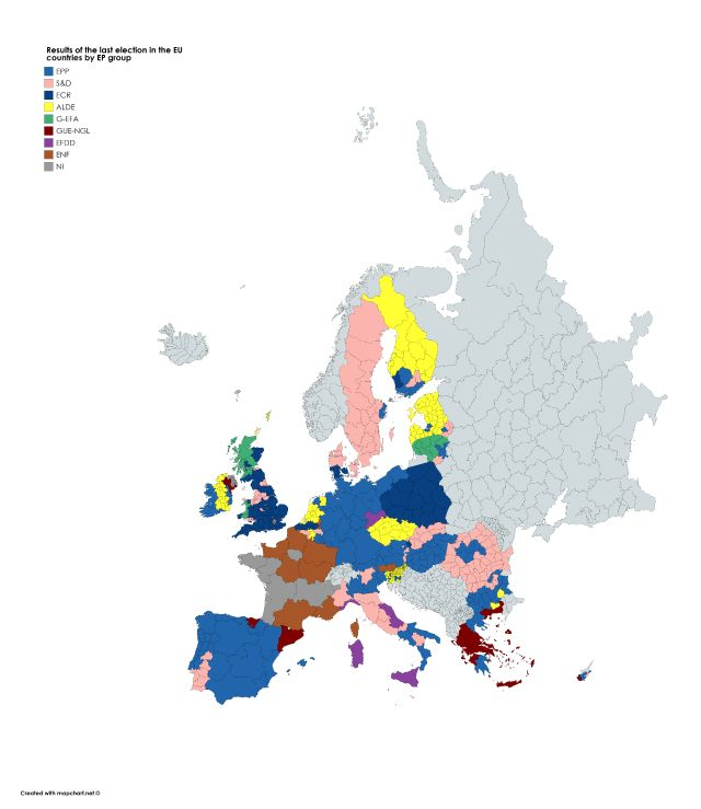 Regional results of the last election in each EU country by European Parliament group
