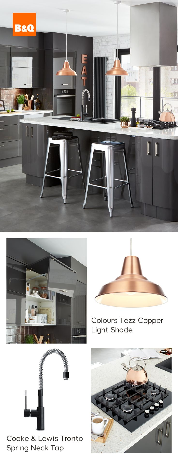 Did you know brass is the new copper? This contemporary Raffello High Gloss Anthracite kitchen is just begging you to accessorise with brass to maximise its urban styling and metallic accents.