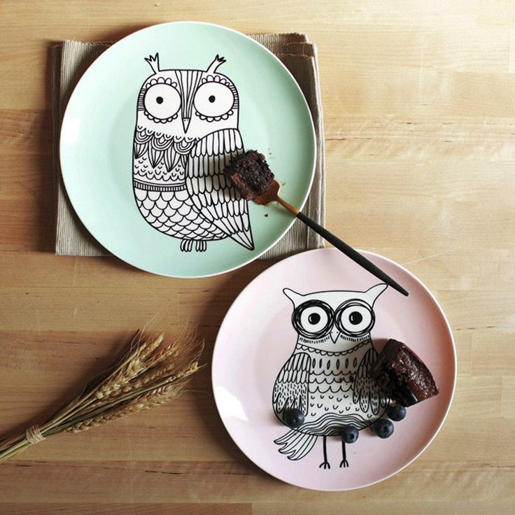 Lotus Blue Owl Plates #Plates