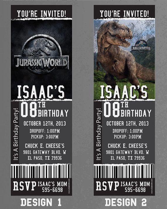 custom jurassic world birthday  event invitation