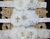 Many types of baptism headbands for baby girls