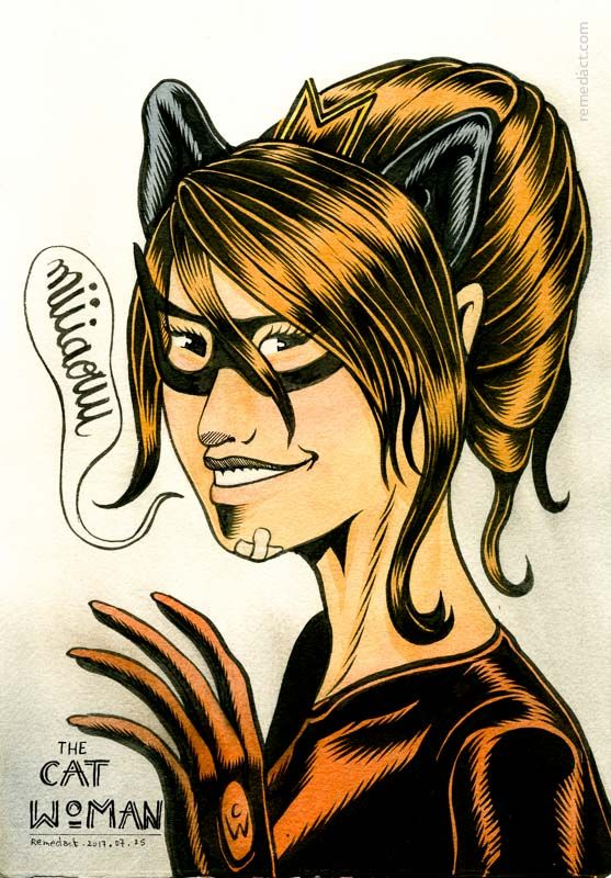 #Catwoman in #latex red suit, #illustration with #ink and #watercolor on #paper © #remedact ›
