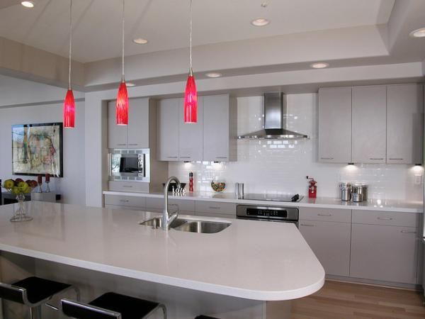Red pendant lights Beautiful Kitchen Lighting Ideas. #Pendantlight #Lighting  http://