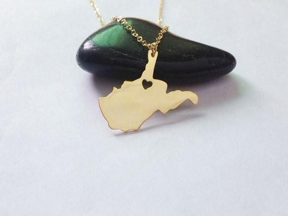 West Virginia Necklace Gold,WV State Charm Necklace,West Virginia State Shaped Pendant,West Virginia State Heart Necklace