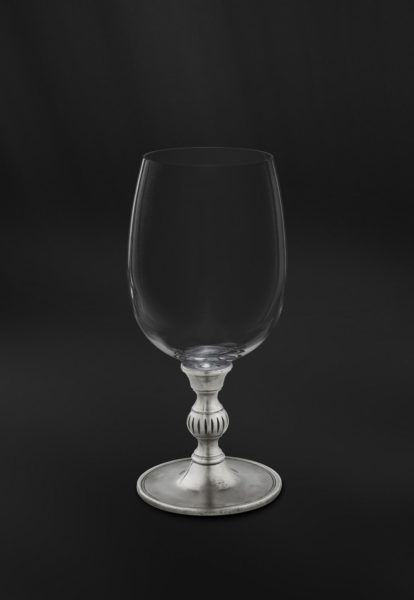 Crystal & Pewter Wine/Water Glass - Height: 16,5 cm (6,5″) - Food Safe Product - #pewter #crystal #wine #water #all #purpose #glass #peltro #cristallo #calice #vino #acqua #zinn #kristallglas #weinkelch #wasserkelch #étain #etain #cristal #verre #vin #eau #peltre #tinn #олово #оловянный #glassware #drinkware #barware #accessories #decor #design #bottega #peltro #GT #italian #handmade #made #italy #artisans #craftsmanship #craftsman #primitive