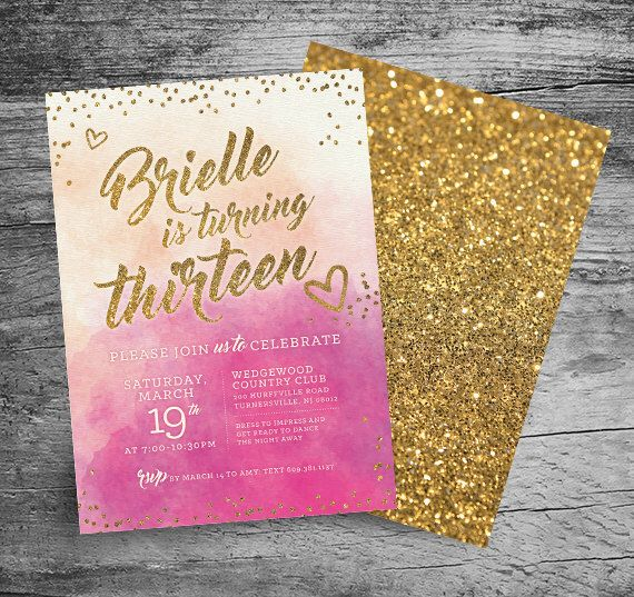 13th Birthday Party Invitation - 5x7 - Watercolor - Gold Glitter - Girl Thirteenth Birthday - Sweet Sixteen - Bat or Bar Mitzvah - PRINTABLE by MyInvitationShoppe on Etsy https://www.etsy.com/listing/270187089/13th-birthday-party-invitation-5x7