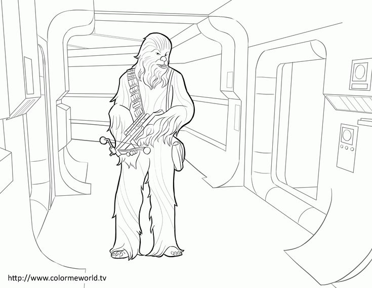Chewbacca Coloring Page LineArt Star Wars Coloring