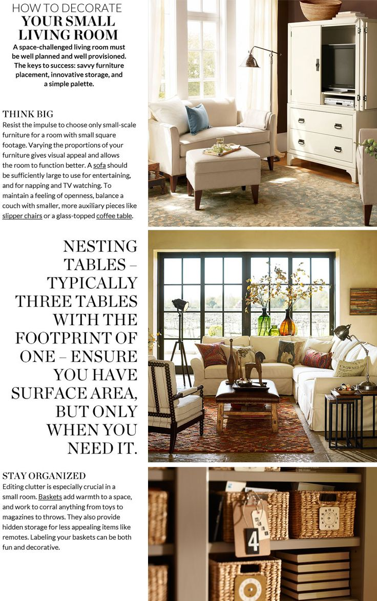 Decorate A Small Living Room | Pottery Barn   Ottoman/coffee Table