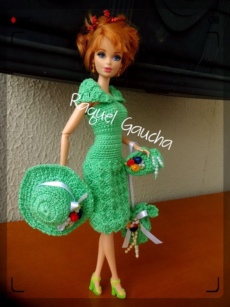 #Cléa1000 #Crochet #Barbie #Vestido #Dress #Purse #Bolsa #Umbrella #Sombrinha #Doll #Muñeca #RaquelGaucha