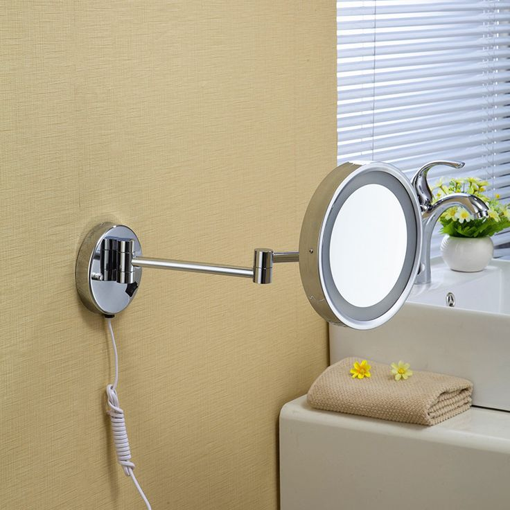 8Wall Mounted Round One Side Bathroom Mirror LED Makeup Cosmetic Decorative Ladys Private