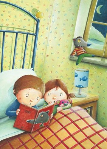 Bruno Robert Illustration - bruno, robert, bruno robert, painted, paint, commercial, picture book, young reader, YA, child, children, people, person, figures, boy, girl, siblings, bed, room, bedroom, toys, story, night, night time, bed time, pattern, toy, window, moon,