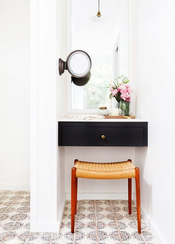 Vanity area in a California eclectic home.