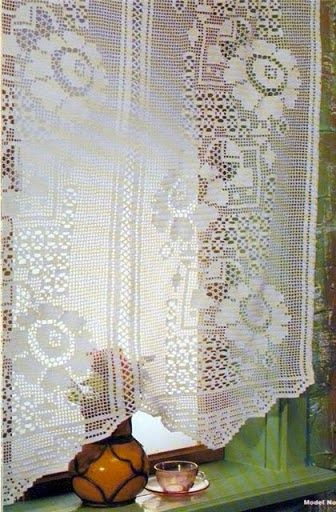 Beautiful Crochet Curtain Filet Work Lcc Mrs With Diagram