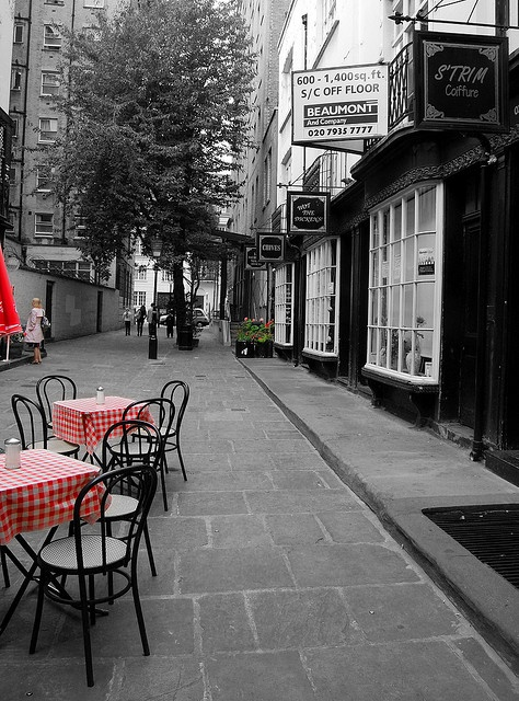 London. A more expansive view of Woburn Walk, Bloomsbury and the 'Wot the Dickens' cafe. Charles Dickens lived just around the corner in Tavistock Square and must have strolled along this passageway on occasion.